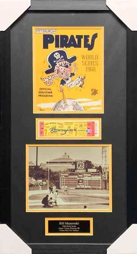 Bill Mazeroski Signed 1960 WS Game 7 Replica Ticket with 8x10 Program Photo and Home Run 8x10 - Professionally Framed