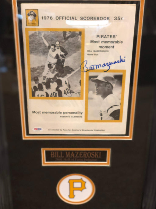 Bill Mazeroski Signed 1976 WS Scorebook - Professionally Framed