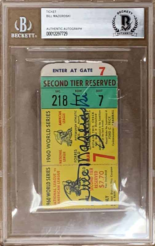 Bill Mazeroski Signed Authentic 1960 Ws Game 7 Ticket - Half Ticket, Large Slab