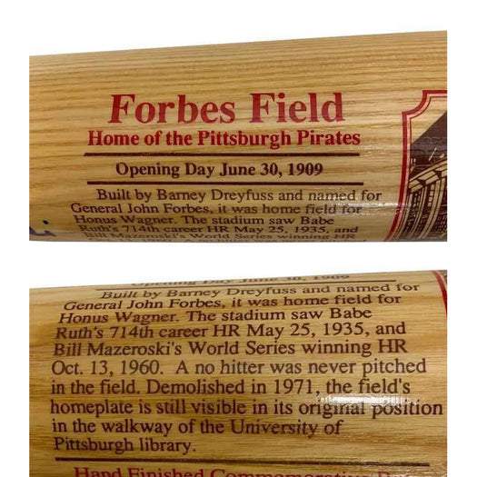 Bill Mazeroski Signed Cooperstown / Forbes Field Special Edition Bat