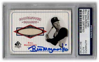 Bill Mazeroski Signed Trading Card (Jersey Piece) Slabbed by Beckett
