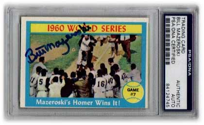 Bill Mazeroski Signed Trading Card (WS HR) Slabbed by Beckett