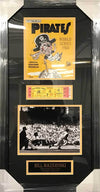 Bill Mazeroski UNSIGNED Professionally Framed 1960 WS Program Photo, Replica Game 7 Ticket and 8x10 Photo