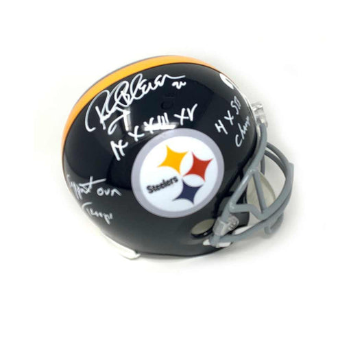 Bleier Signed Pittsburgh Steelers Black Full Size Replica TB Helmet with 4X SB Champs, IX X XIII XIV and Support our Troops