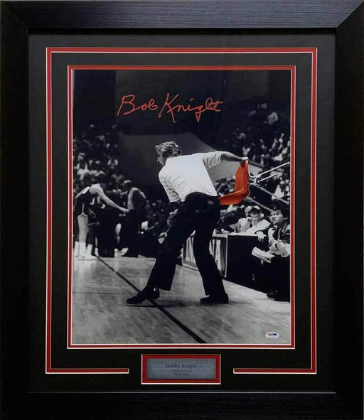 Bobby Knight Signed Throwing Chair Spotlight 16x20 - Professionally Framed