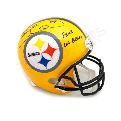 "Brett Keisel Autographed 75th Anniversary Replica Full-Size Helmet Inscribed ""Fear da Beard"""
