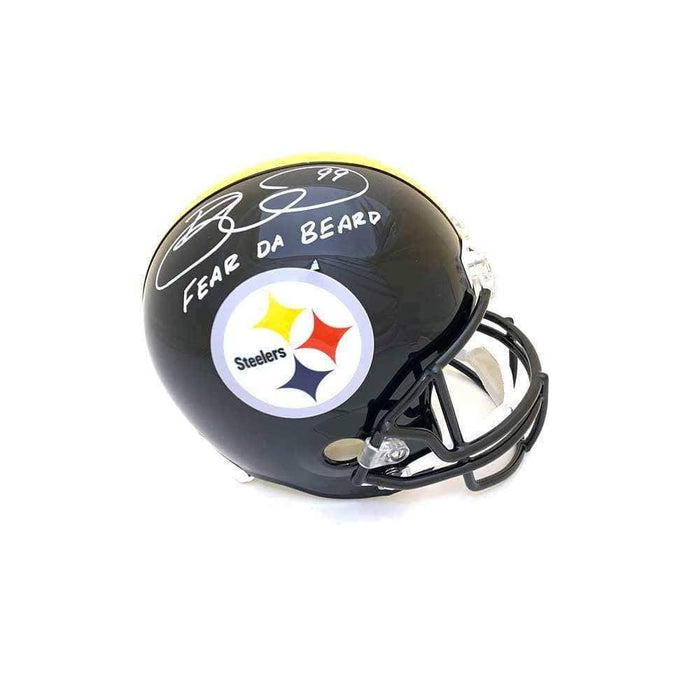 "Brett Keisel Autographed Black Replica Full-Size Helmet Inscribed ""Fear da Beard"" - DAMAGED"