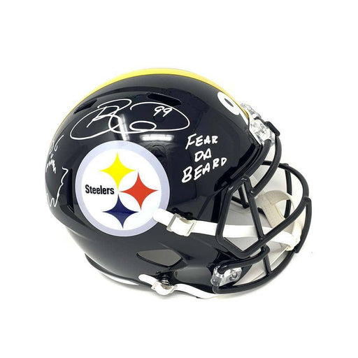 "Brett Keisel Autographed Black Replica Full-Size SPEED Helmet Inscribed ""Fear da Beard"" and Beard Drawing"