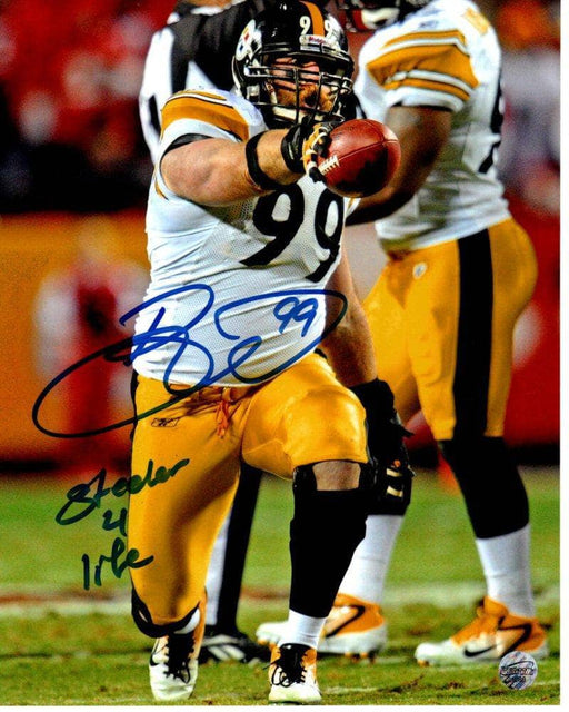Brett Keisel Autographed Pointing with Football in White 8X10 Photo