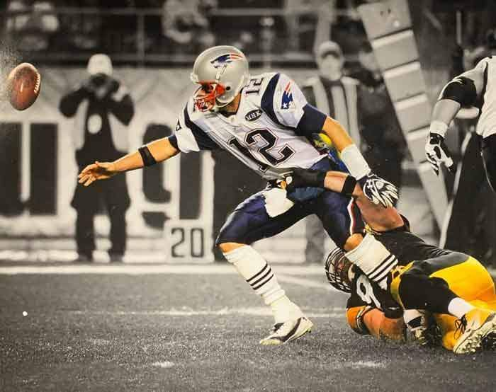 Brett Keisel Sacking Brady Unsigned 16x20 Photo