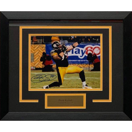 Brett Keisel Signed Bow and Arrow Stance 8x10 Photo - Professionally Framed