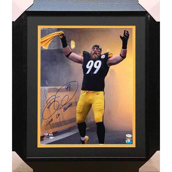 Brett Keisel Signed Entrance with Terrible Towel Fear da Beard 16x20 Photo - Professionally Framed