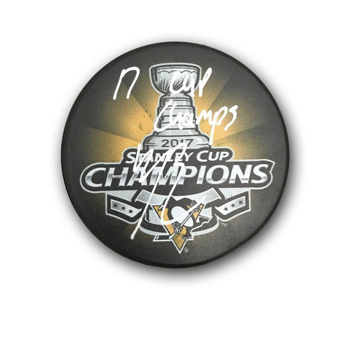 Bryan Rust Autographed 2017 Stanley Cup Logo Puck with 17 Cup Champs