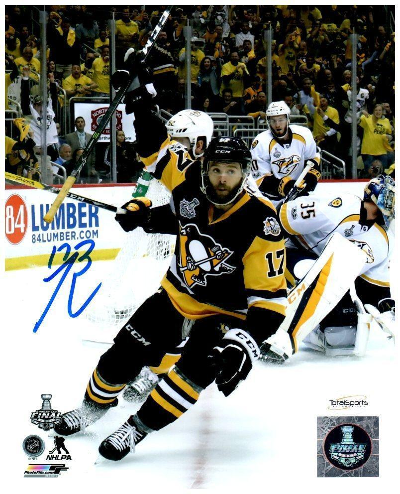 Bryan Rust Autographed Celebrating 2017 Stanley Cup Goal 8x10