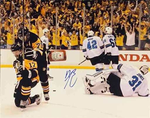 Bryan Rust Autographed Celebrating with Malkin 11x14 Photo - DAMAGED