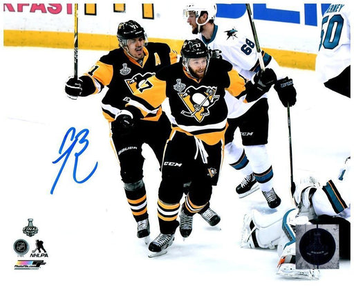 Bryan Rust Autographed Celebrating with Malkin 8x10