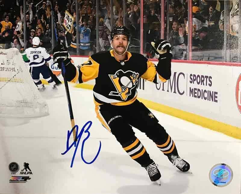 Bryan Rust Autographed Double Fist Pump Vs. Toronto 16x20 Photo - DAMAGED
