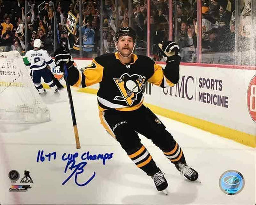 Bryan Rust Autographed Double Fist Pump Vs. Toronto 16x20 Photo with 16-17 Cup Champs