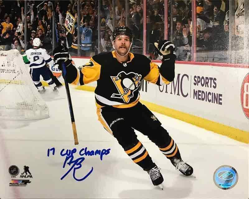 Bryan Rust Autographed Double Fist Pump Vs. Toronto 16x20 Photo with 17 Cup Champs