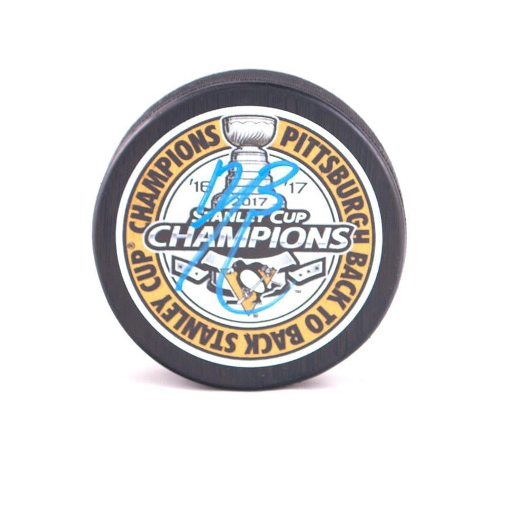 20a00cfbd94 Bryan Rust Autographed Pittsburgh Penguins Back-to-Back SC Champs Puck