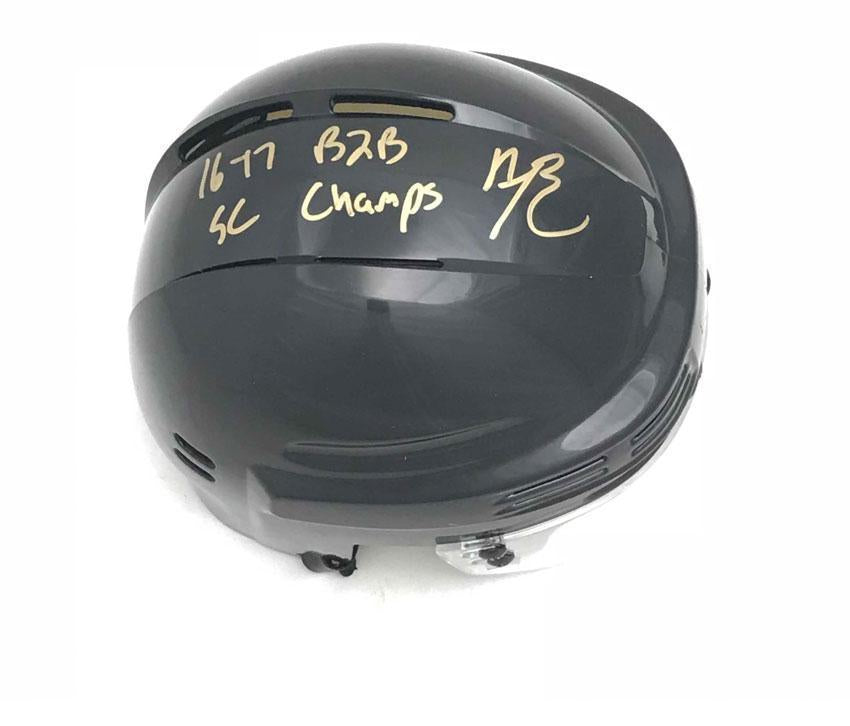 Bryan Rust Autographed Pittsburgh Penguins Black Mini Helmet with 16-17 B2B SC Champs