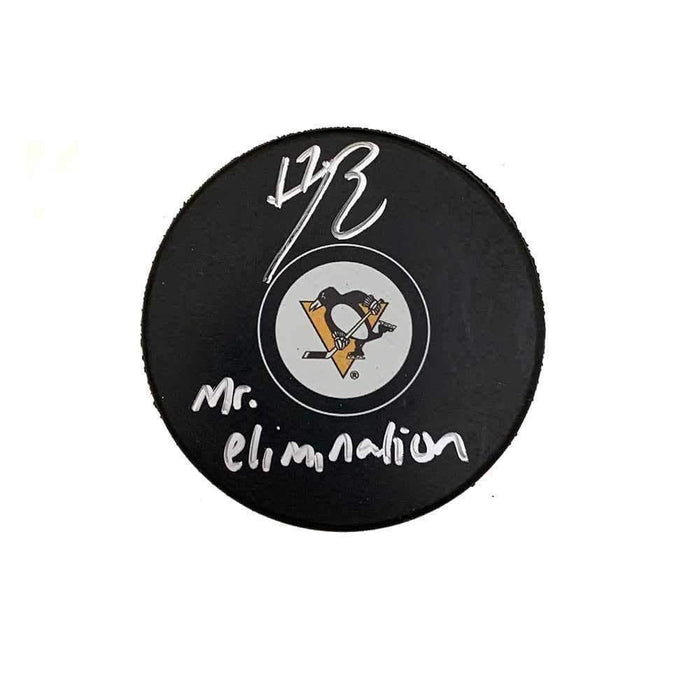 Bryan Rust Autographed Pittsburgh Penguins Logo Puck with Mr. Elimination