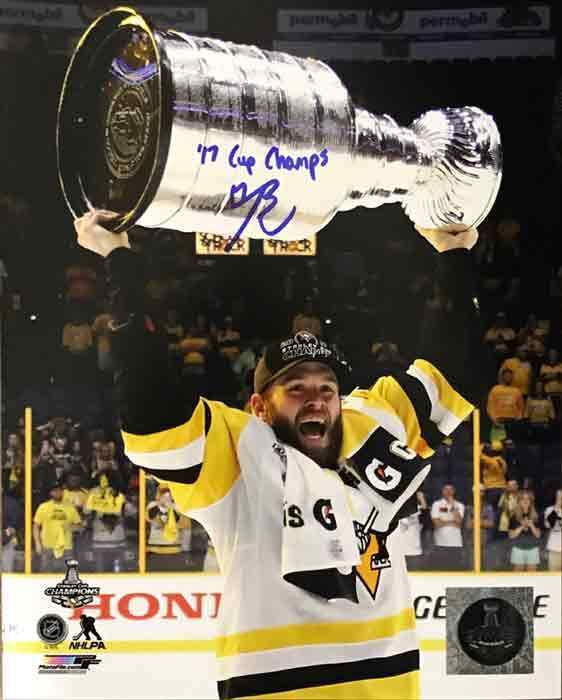 Bryan Rust Autographed Raising 2017 Cup 16X20 Photo with 17 Cup Champs