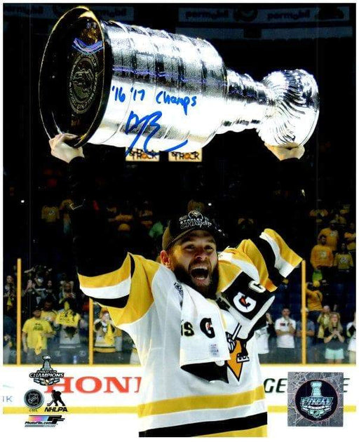 Bryan Rust Autographed Raising 2017 Cup 8x10 Photo with 16-17 Champs