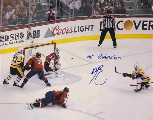 Bryan Rust Autographed Scoring on Capitals 11x14 Photo with Mr. Elimination - DAMAGED