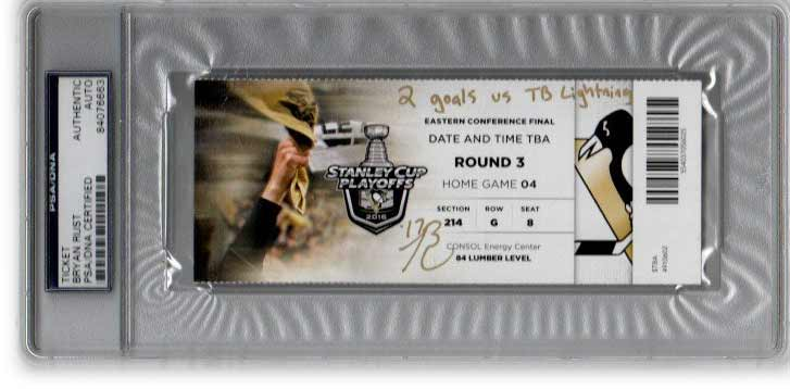 Bryan Rust Signed Authentic 2016 Eastern Conference Finals Ticket with 2 Goals Vs TB Lightning