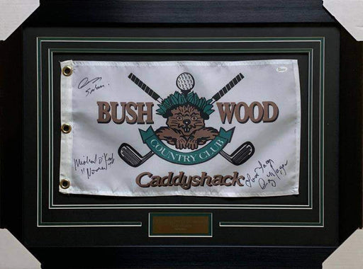 Bushwood Pin Flag from CaddyShack Signed by Michael O'Keefe, John Barman and Cindy Morgan - Professionally Framed