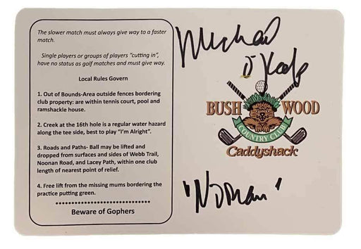 "Caddyshack's Bushwood Scorecard Signed by Michael O'Keefe with ""Noonan"""