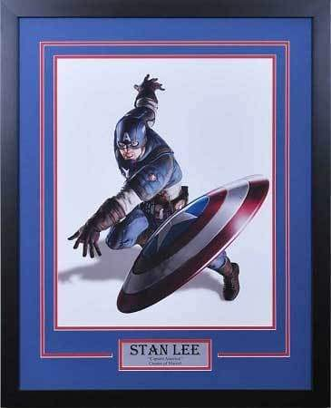 Captain America 16x20 Throwing Sheild Unsigned Vertical - Professionally Framed Default Title