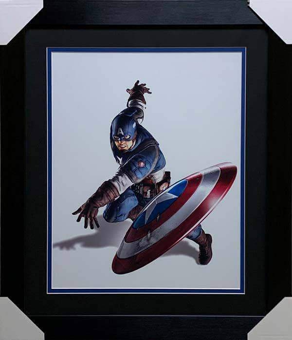 Captain America 16x20 Throwing Shield Unsigned Vertical - Professionally Framed
