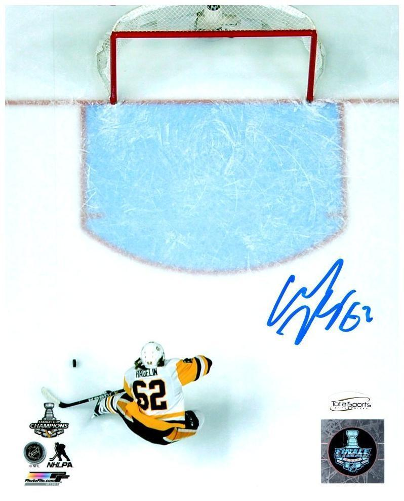 Carl Hagelin Autographed Empty Net Goal Game 6 of 2017 Stanley Cup 8x10