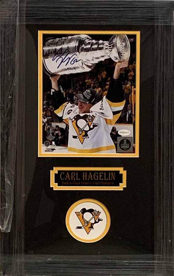 Carl Hagelin Signed with 2017 Cup Autographed 8x10 Photo - Professionally Framed Default Title