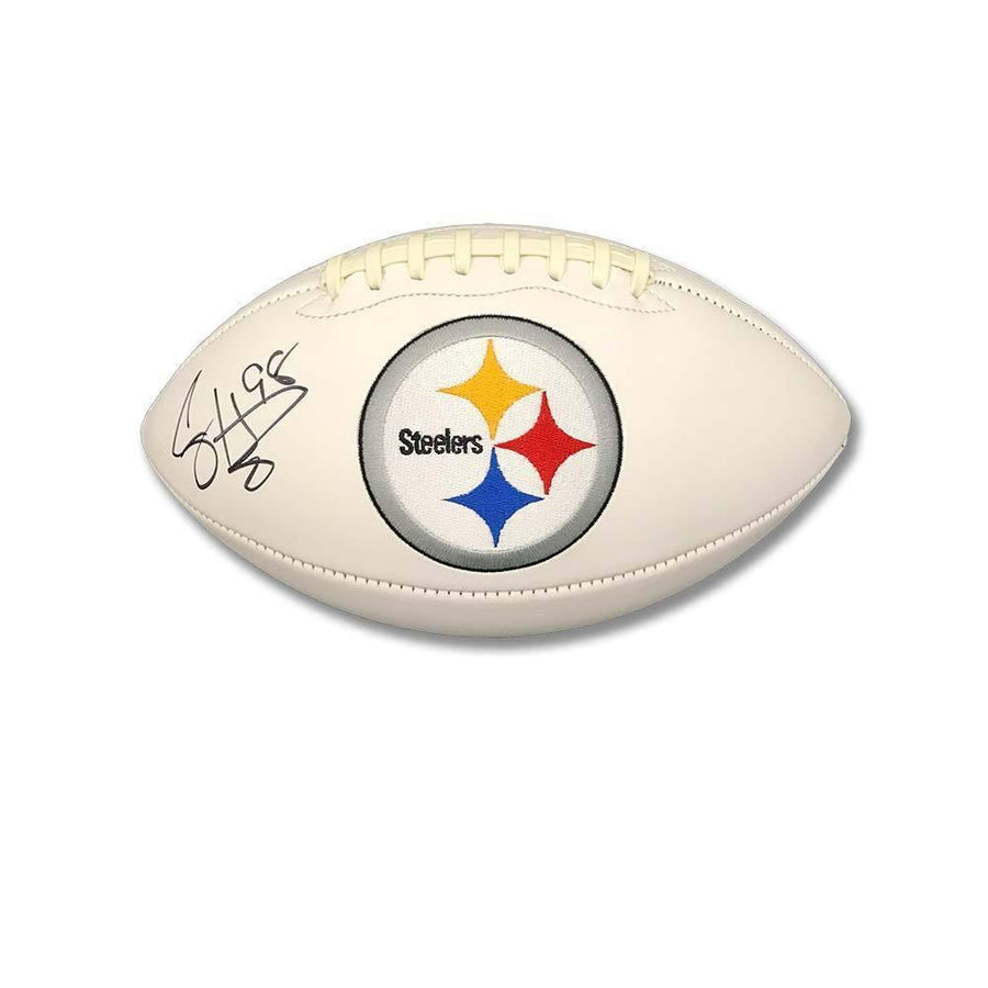 Casey Hampton Signed Pittsburgh Steelers White Logo Football