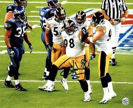 Casey Hampton Signed Stomping in Super Bowl XL 8x10 Photo
