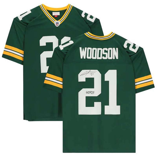 "Charles Woodson Green Bay Packers Autographed Green Mitchell & Ness Replica Jersey with ""HOF 21"" Inscription"