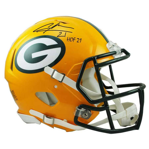 "Charles Woodson Green Bay Packers Autographed Riddell Speed Replica Helmet with ""HOF 21"" Inscription"