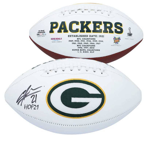 "Charles Woodson Green Bay Packers Autographed White Panel Football with ""HOF 21"" Inscription"