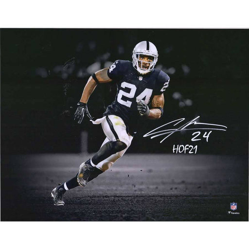 "Charles Woodson Oakland Raiders Autographed 11"" x 14"" Spotlight Photograph with ""HOF 21"" Inscription"