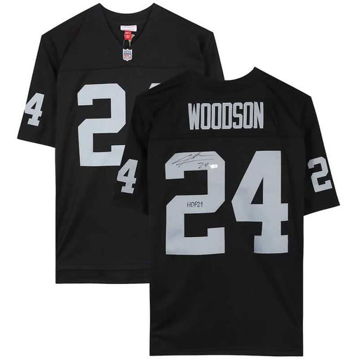 "Charles Woodson Oakland Raiders Autographed Black Mitchell & Ness Replica Jersey with ""HOF 21"" Inscription"