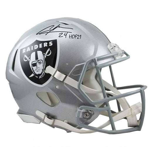 "Charles Woodson Oakland Raiders Autographed Riddell Speed Replica Helmet with ""HOF 21"" Inscription"