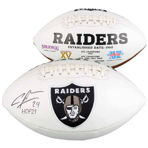 "Charles Woodson Oakland Raiders Autographed White Panel Football with ""HOF 21"" Inscription"