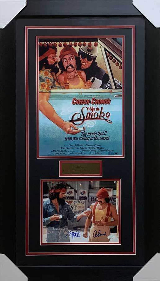 Cheech and Chong Signed 8x10 Photo with Up in Smoke Movie Poster - Professionally Framed