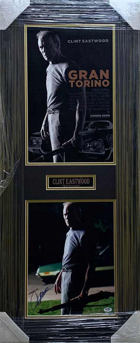 Clint Eastwood Signed 11x14 Photo with Gran Torino 11x17 Poster - Professionally Framed