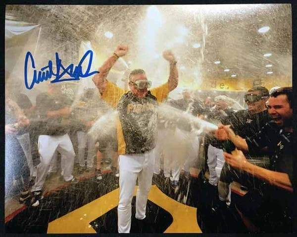 Clint Hurdle Signed Champaign Shower 8x10 Photo