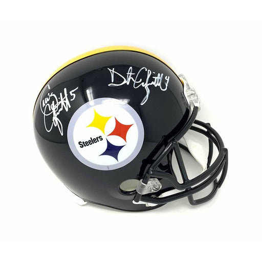 Craig and Dustin Colquitt Dual Autographed Pittsburgh Steelers Black FS Replica Helmet