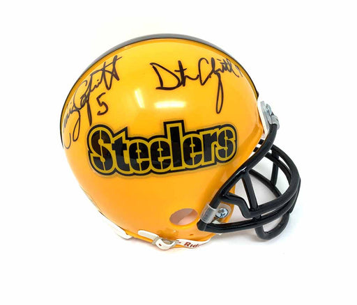Craig and Dustin Colquitt Dual Autographed Pittsburgh Steelers Gold Mini Helmet